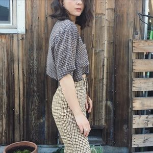 Vintage silk cropped blouse top